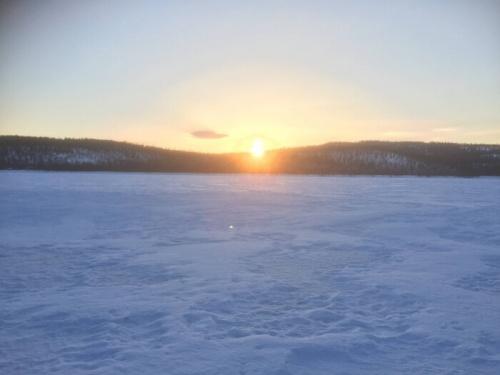 Coucher de soleil sur le lac d'Inari - Laponie Finlandaise